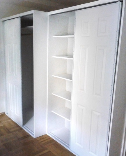 Incroyable Custom Closet On The Left, Custom Bookcase 8u2033 Shelves With Sliding Doors On  The Right(4 Feet Wide By 2 Foot Depth And 8 Feet In Height) Standard  Sliding ...
